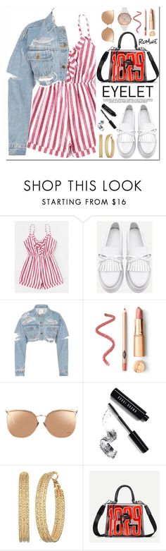 """""""Peek-A-Boo: Eyelet"""" by oshint ❤ liked on Polyvore featuring Linda Farrow, Bobbi Brown Cosmetics, GUESS, Olivia Burton, awesome, amazing, cool, romwe and eyelet"""