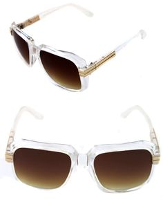 4cc0bdc75fa Details about Men s Hip Hop 80 s Vintage 607 Brown Lens Sunglasses RUN DMC  CLEAR GOLD Retro