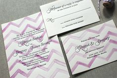 chevron watercolor letterpress suite .  modern, fresh and eye-catching