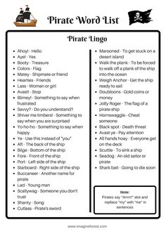 See our list of 10 pirate themed writing prompts for kids, plus our free pirate printable. These writing prompts are perfect for talk like a pirate day. Writing Prompts For Kids, Writing Promps, Book Writing Tips, Writing Words, Pirate Words, Pirate Names, Pirate Activities, School Age Activities, Pirate Day