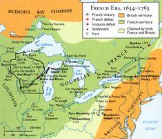 Carte de la Nouvelle-France, localisant les évènements de 1634 à 1763
