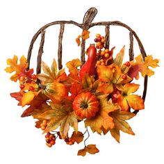 Pumpkin-shaped metal wall decor with fabric fall leaf accents.