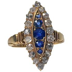 English Antique Sapphire  Diamond Gold navette Ring | From a unique collection of vintage more rings at https://www.1stdibs.com/jewelry/rings/more-rings/