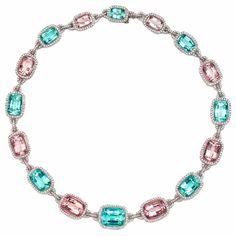 LAURA MUNDER Mint Green Tourmaline, Morganite and Diamond Necklace by shawna