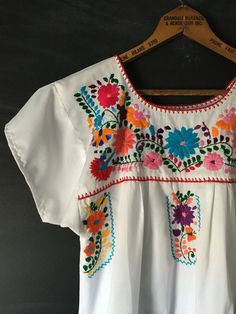 Authentic White Mexican Embroidered Dress