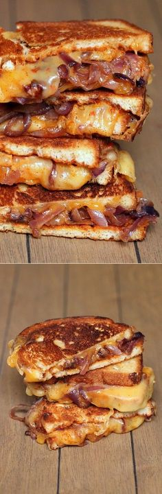 Sweet and Spicy Grilled Cheese. Carmelized Onion, BBQ sauce, Pepper Jack and Sharp Cheddar~ cheesy, sweet and spicy deliciousness I Love Food, Good Food, Yummy Food, Tasty, Soup And Sandwich, Grilled Sandwich, Grilled Cheese Sandwiches, Bbq Sandwich, Steak Sandwiches