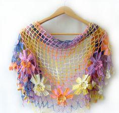 Multicolor shawl styleunique elegant colourful by LovelyKnitShop