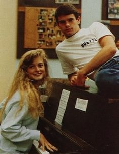 "Actress Heather Graham (and classmate Brett Hanley) were voted most talented in their 1988 class at Agoura high school in Agoura Hills, California. Her accompanying quote: ""See you at the movies. I'll be the one selling the popcorn.""  #1988 #HeatherGraham #Agoura #MostTalented #yearbook"