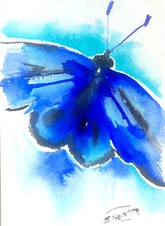 Brigh Blue Butterfly. Small painting 7 X 5 in by ORIGINALONLY Suren Nersisyan. Ginger