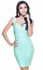 Stunning Aqua Bandage Dress   The Kewl Shop