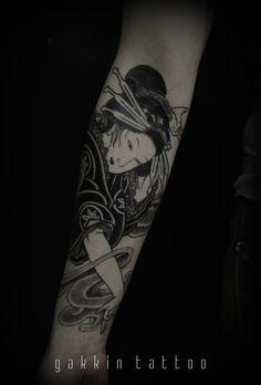 GAKKIN TATTOO: Photo Girl Arm Tattoos, Body Tattoos, Gakkin Tattoo, Alone Tattoo, Russian Tattoo, Chinese Dragon Tattoos, Traditional Japanese Tattoos, Oriental Tattoo, Black Ink Tattoos