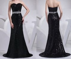 black sequin dress formal evening dresses prom by sposadress, $152.00