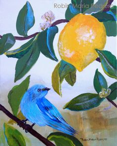 Blue Bird in Lemon Tree  fine art print by RobinMariaPedrero, $20.00