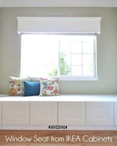 Built in window seat bench from IKEA cabinets. No IKEA near us but I want to do this under each of the kids windows in the new house eventually. Ikea Storage, Bedroom Storage, Storage Hacks, Storage Solutions, Wall Storage, Ikea Regal, Window Benches, Window Seats, Ikea Cabinets