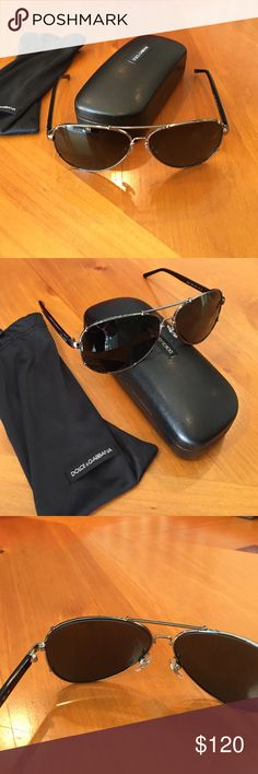 Dolce & Gabbana Gunmetal Aviator Sunglasses Brand new DG unisex black sunglasses but no tags, it was a gift. They have great UV protective lenses and authentic logo in both temples....comes with bag and case Dolce & Gabbana Accessories Glasses