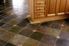 Parisian #Slate #tiles floor sealed with natural sealer.