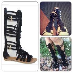 7f373c6ea9d Spotted while shopping on Poshmark  ⭐Sizes Black Fringe Gladiator Sandals!