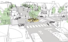 Mini Roundabouts explained and illustrated in the NACTO Urban Street Design Guide. Click image for details & visit our popular Streets for Everyone board >> http://www.pinterest.com/slowottawa/streets-for-everyone/