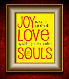 Joy Quote by Mother Theresa Art Poster Print Paper Ink 11x14 Yellow   ViaDellaRosa - Print on ArtFire