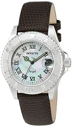 Invicta Womens Angel Swiss Quartz Stainless Steel and Brown Leather Casual Watch Model 18398 ** Read more reviews of the product by visiting the link on the image.Note:It is affiliate link to Amazon.