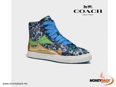 MONEYBACK MEXICO. The classic leather high-top gets updated this season with a high-low mix of feminine details, making a statement with a prairie print and a pointy toe. Overlays in bright green and metallic leather offer striking accents that are unexpected and fresh, while thick laces and white rubber soles enhance the sport-luxe look. Shop COACH in Mexico for a Moneyback tax refund! #moneyback www.moneyback.mx