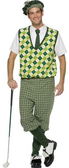 OFF or FREE SHIP -Old Tyme Golfer Adult Costume : Great look for that golfer in your life! Costume includes hat, sweater shirt with tie, knickers, and combination sock/shoe covers. Just add your own golf club! One size fits most adults sizes Golf Halloween Costume, Golf Costumes, Adult Costumes, Sports Costumes, Holiday Costumes, Halloween Party, Toddler Halloween, Family Costumes, Halloween Ideas