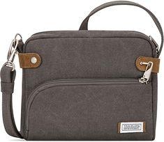 Amazon.com: Travelon Anti-theft Heritage Crossbody Bag, Pewter Best Crossbody Bags, Pewter Grey, Handbag Organization, Green Bag, Indigo, Purses, Amazon, Easy Access, Travel Checklist