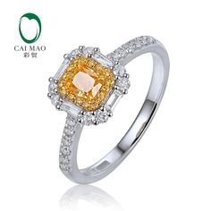 Gold, Moon and Stars - Yellow and White Diamond Ring in White Gold Dainty Engagement Rings, Yellow Diamond Engagement Ring, Yellow Diamond Rings, Yellow Diamonds, Wedding Rings For Women, Wedding Ring Bands, White Gold Jewelry, Eternity Ring, Natural Diamonds