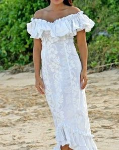 white hawaiian wedding dress