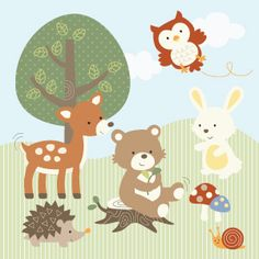 Woodland friends - cute nursery print