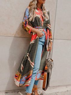 Shop Mixed Print Long Sleeve Belted Longline Coat right now, get great deals at cbrstyle Mode Abaya, Mode Hijab, Spring Outfits, Trendy Outfits, Cute Outfits, Kimono Fashion, Fashion Dresses, Mode Bcbg, Dress Over Pants