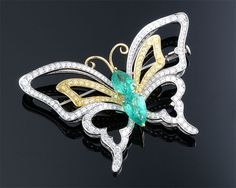 Colombian Emerald and Diamond Butterfly Pin ~