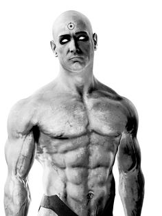Dr. Manhattan, perfectly dressed in just underwear and ready to destroy earth if he happens to justify it