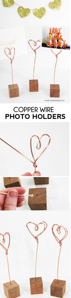 For a Valentine's day craft that can be used all year long, make these copper wire photo holders!
