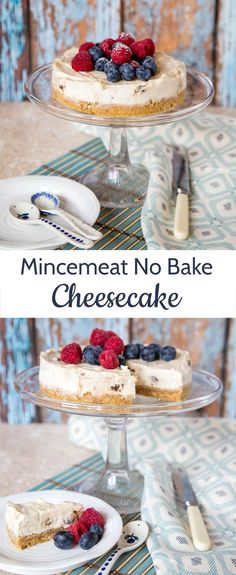 This easy to make no bake mincemeat cheese cake lightened using yogurt is an excellent alternative Christmas dessert