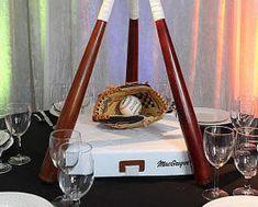 MLB baseball wedding centerpiece