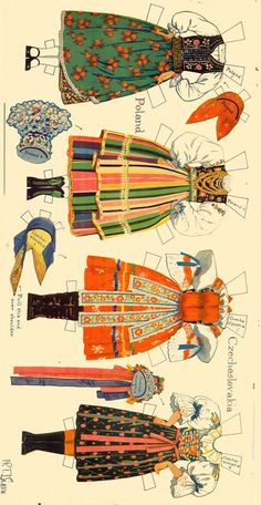 Peasant Costumes of Europe * For lots of free Christmas paper dolls… Folk Costume, Costumes, Origami, Paper Art, Paper Crafts, Polish Folk Art, Paper Doll House, World Thinking Day, Vintage Drawing