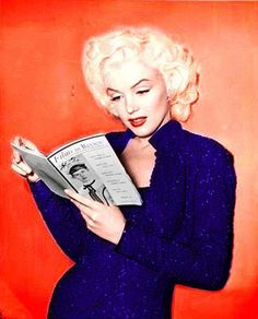 Marilyn Monroe I love how she's always reading. So very intrigued and lost in the world inside those pages.