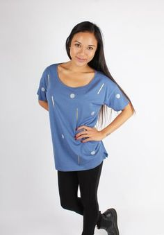 Gold and Glitter Oversized Shirt Blue