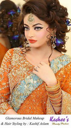 Kashee's Beauty Parlour Bridal Make Up Bridal Makeup Images, Bridal Makeup Looks, Indian Bridal Makeup, Indian Bridal Fashion, Bridal Looks, Asian Bridal, Asian Fashion, Kashees Hairstyle, Bride Hairstyles