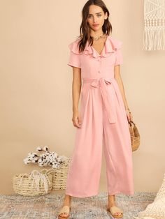e3c638e4b5 Ruffle Trim Half Placket Wide Leg Belted Jumpsuit - Popviva  summer  year   fall