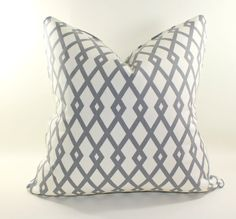 Robert Allen Graphic Fret in Greystone Pillow Cover, Cushion Cover, Decorative Pillow - $43 - 20x20