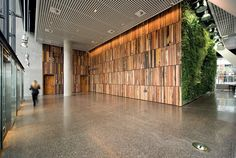 recycled wood panelling / terazzo floor The Gauge, Melbourne - recycled timber feature wall