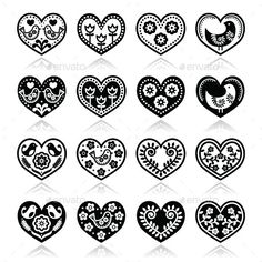 Buy Folk Hearts with Flowers and Birds Icons Set by RedKoala on GraphicRiver. Vector icons set of hearts isolated on white – folk art style FEATURES: Vector Shapes All groups have names All . Embroidery Hearts, Folk Embroidery, Hand Embroidery Patterns, Embroidery Designs, Shirt Embroidery, Bird Template, Heart Template, Bordado Popular, Origami Christmas Ornament
