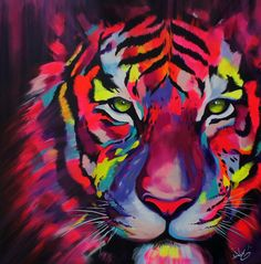 Closer To Truth: Is Time Travel Possible? Tiger Artwork, Tiger Painting, Illustration Art Dessin, Tableau Pop Art, African Art Paintings, Colorful Animals, Rainbow Painting, Arte Pop, Mural Art