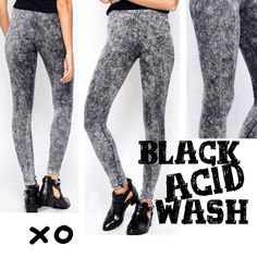 BLACK ACID WASH LEGGINGS Ankle length acid wash leggings in black. American cotton and spandex for great fit and breathability. Elastic waist. 95% cotton/5% spandex.  2 S/M & 2 L/XL tla2 Pants Leggings