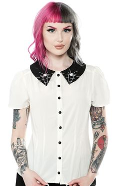 Hell Bunny Miss Muffet Gothic Halloween Spider Collar Ivory Occult Blouse Top