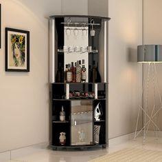 Corner Home Bar Cabinet Wine Bottle Storage Stemware Rack Liquor Pub Furniture for sale online Corner Home Bar, Corner Bar Cabinet, Home Bar Cabinet, Cabinet Space, Corner Pub, Narrow Cabinet, Armoire Bar, Wine Rack Furniture, Home Bar Furniture