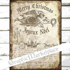 Christmas Noel Old Postcard Letter Angel by GraphicMarketplace
