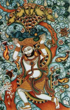 Pin by sreedevi balaji on temple murals pinterest for Asha mural painting guruvayur